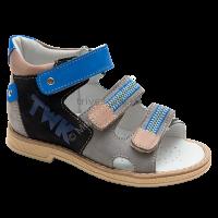 TW-129 Сандалеты ортопедические малосложные (с открытым носком) цв.2-серо-синий, 29
