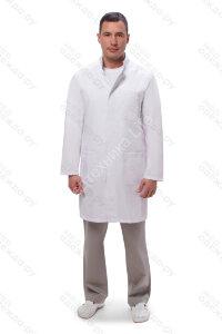 М-550 Халат медицинский мужской  (дл.рук, кн.) Satory Размер 48,50,54,56